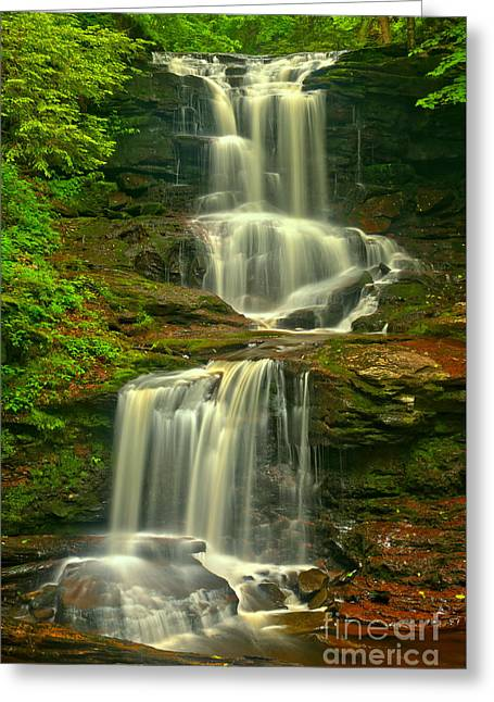 Ricketts Glen Tuscarora Falls Greeting Card by Adam Jewell