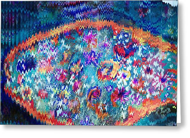 Rick Rack Wiggly Abstract Greeting Card by Anne-elizabeth Whiteway
