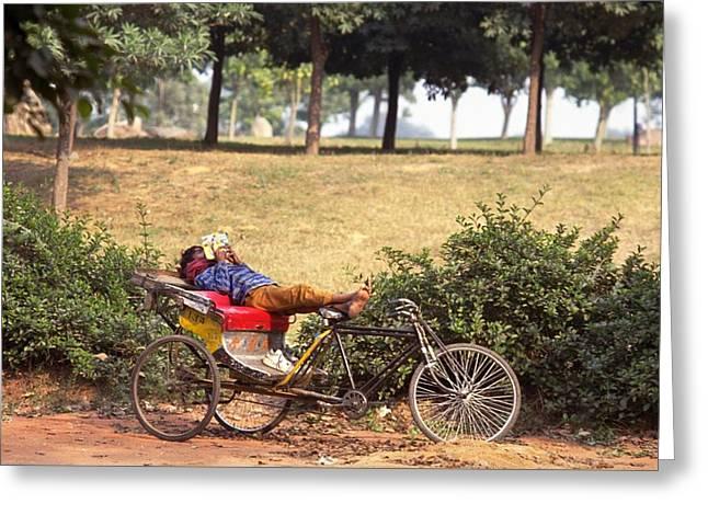 Rickshaw Rider Relaxing Greeting Card