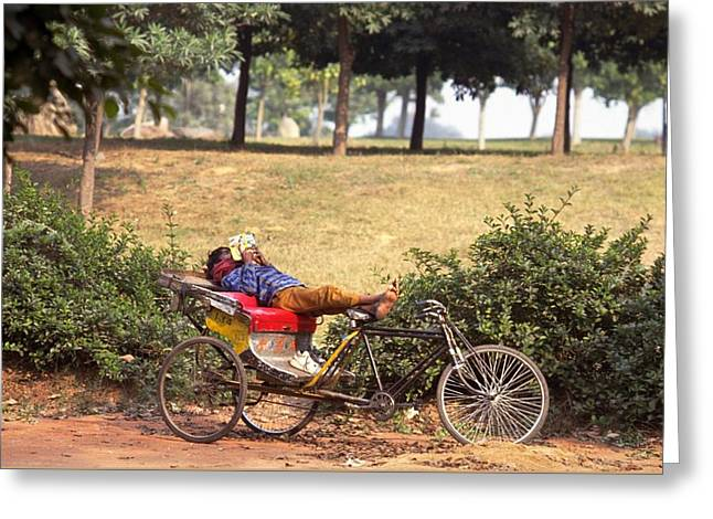 Rickshaw Rider Relaxing Greeting Card