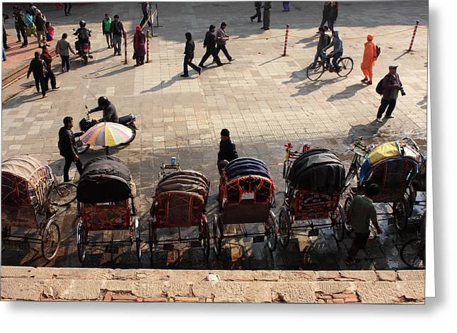 Rickshaw Taxis In Durbar Square Greeting Card