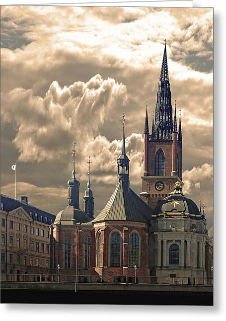 Greeting Card featuring the photograph Riddarholm Church - Stockholm by Jeff Burgess