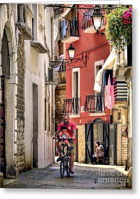 Southern Province Greeting Cards - Ride Along.Bari.Italy Greeting Card by Jennie Breeze