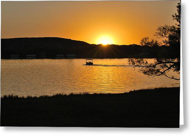 Ride Into The Sunset Greeting Card by Teresa Blanton