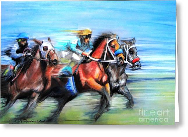 Greeting Card featuring the painting Ride Like The Wind by Patricia L Davidson