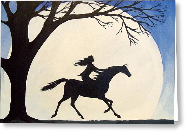 Ride Like The Wind  - Silhouette Girl Riding Horse Greeting Card