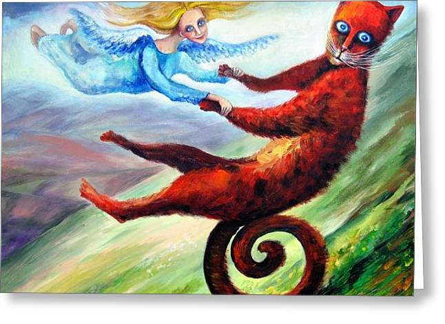 Ride The Tail Greeting Card by Elisheva Nesis