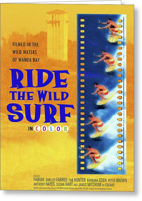 Ride The Wild Surf Vintage Movie Poster Greeting Card