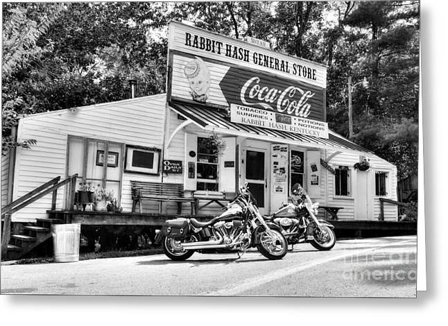 Ride To Rabbit Hash Bw Greeting Card by Mel Steinhauer