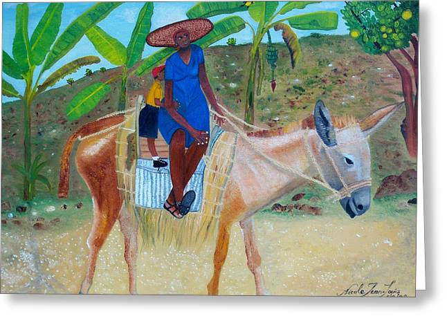 Greeting Card featuring the painting Ride To School On Donkey Back by Nicole Jean-Louis