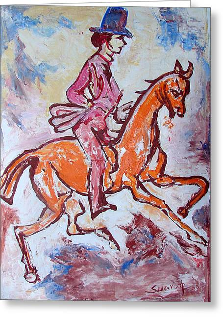 Greeting Card featuring the painting Rider And Horse by Anand Swaroop Manchiraju