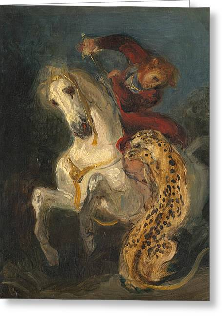 Rider Attacked By A Jaguar Greeting Card by Eugene Delacroix