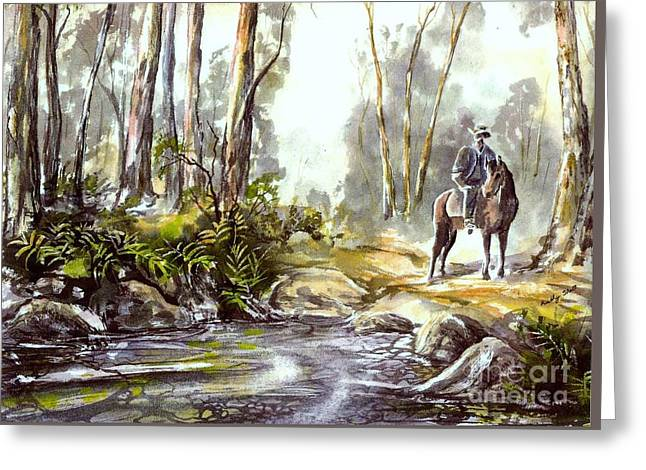 Rider By The Creek Greeting Card