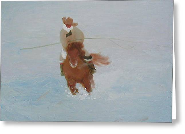 Rider In Snow Greeting Card
