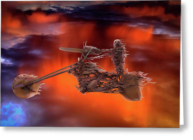 Greeting Card featuring the mixed media Rider In The Sky by Shane Bechler