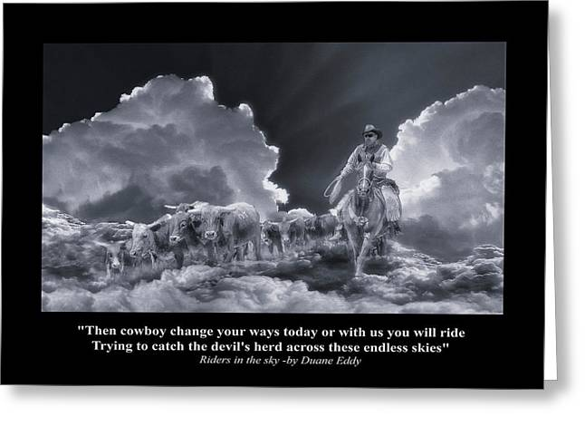 Riders In The Sky Bw Greeting Card