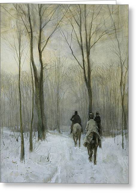Riders In The Snow In The Hague Forest Greeting Card by Anton Mauve