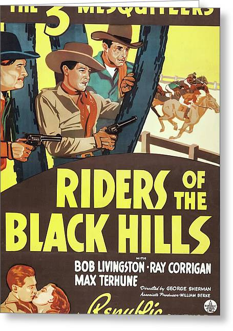 Riders Of The Black Hills 1938 Greeting Card by Republic