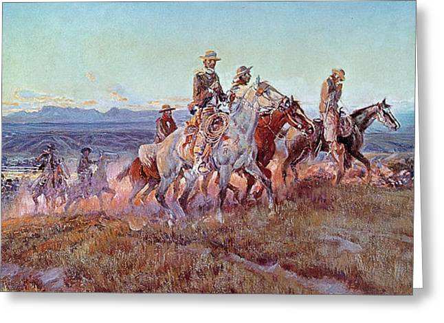 Rough Paintings Greeting Cards - Riders of the Open Range Greeting Card by Charles Marion Russell