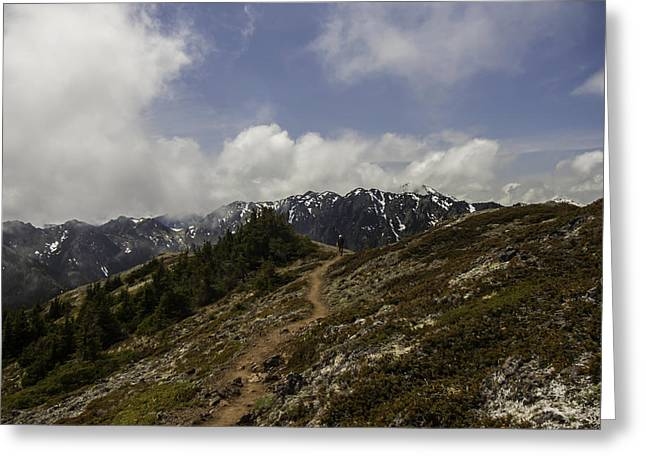 Ridge Walking In The Olympic Mountains Greeting Card