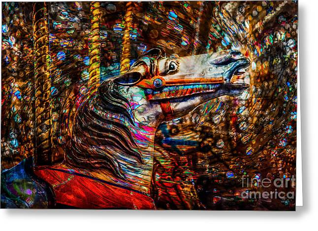 Greeting Card featuring the photograph Riding A Carousel In My Colorful Dream by Michael Arend