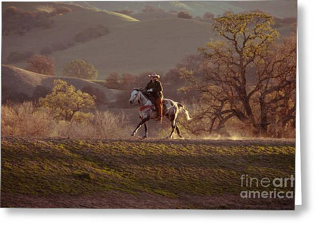 Horseback On Top Of The Hill Greeting Card
