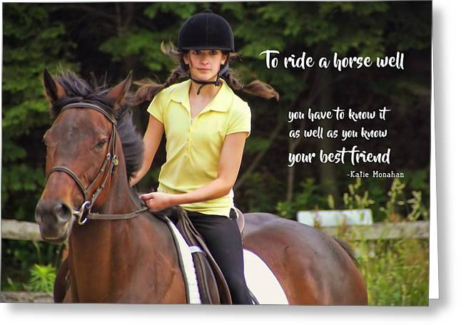 Riding Grace Quote Greeting Card by JAMART Photography
