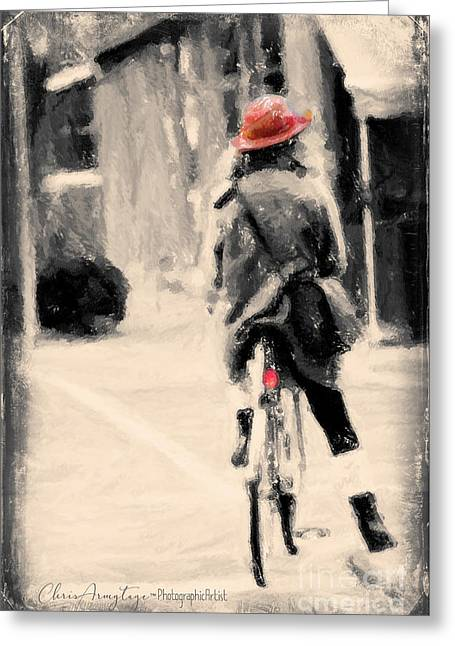 Riding My Bicycle In A Red Hat Greeting Card