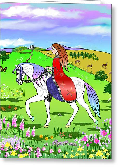 Riding On A Unicorn Greeting Card by Frances Gillotti