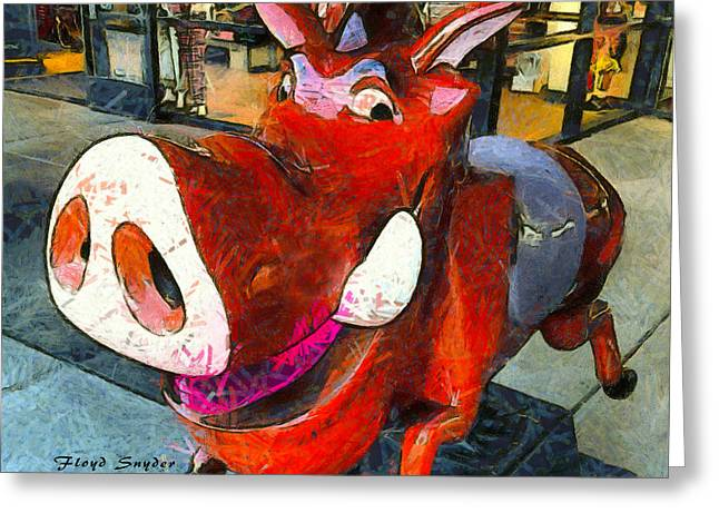 Riding Pig Of Pismo Beach Greeting Card