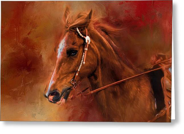 Riding The Autumn Breeze Horse Art Greeting Card