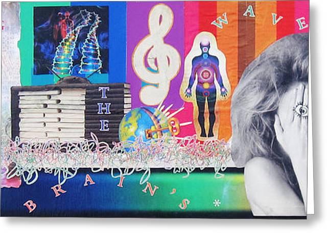 Chakra Rainbow Greeting Cards - Riding the Brains Waves collage Greeting Card by Casey Roche
