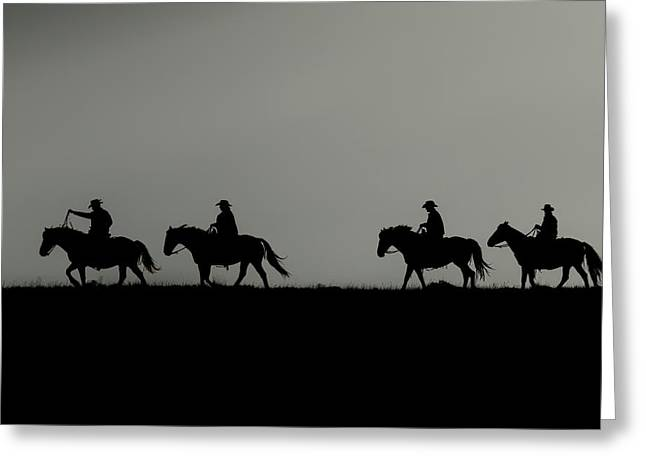 Riding The Range At Sunrise Greeting Card