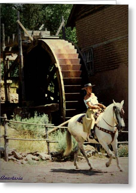 Greeting Card featuring the painting Riding The Spanish Mare by Anastasia Savage Ealy