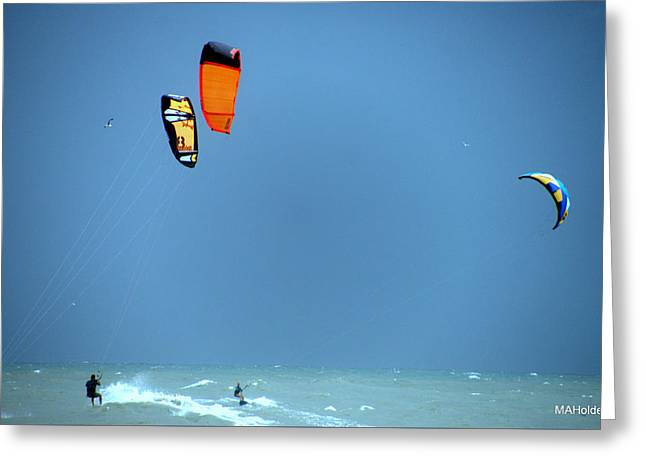 Riding The Waves Kite Boarding Greeting Card by Mark Holden