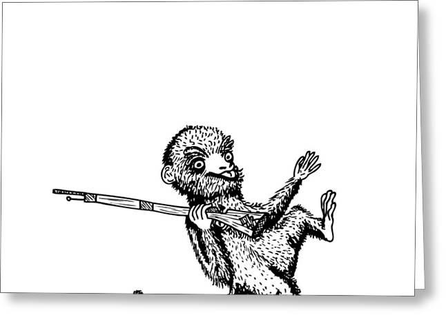 Rifle Monkey Greeting Card by Karl Addison