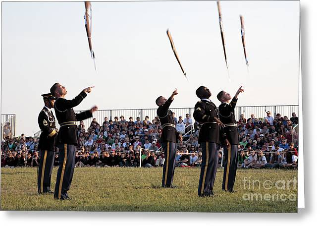 Rifle Toss By The Old Guard At The Twilight Tattoo  In Washington Dc Greeting Card