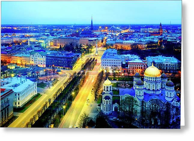 Greeting Card featuring the photograph Riga by Fabrizio Troiani