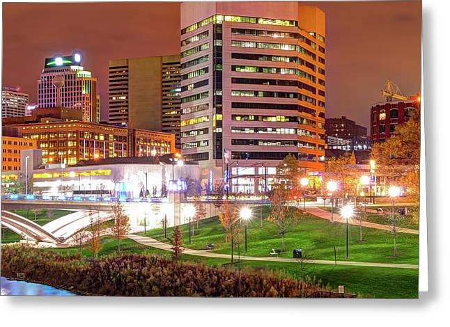 Right Panel 3 Of 3 - Columbus Ohio Skyline At Night Greeting Card