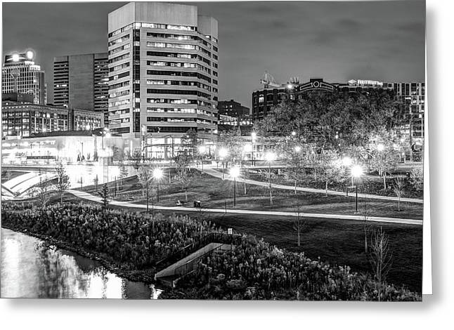 Right Panel 3 Of 3 - Columbus Ohio Skyline At Night In Black And White Greeting Card