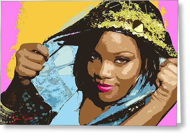 Rihanna Greeting Card by John Keaton