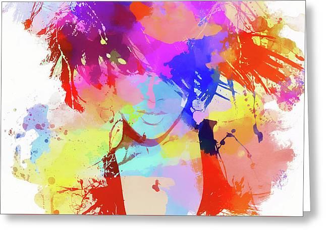 Rihanna Paint Splatter Greeting Card by Dan Sproul