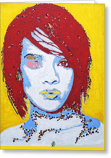 Rihanna  Greeting Card by Stormm Bradshaw