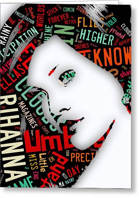 Rihanna Umbrella Lyrics Greeting Card by Marvin Blaine