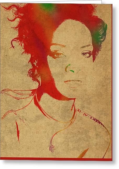 Rihanna Watercolor Portrait Greeting Card by Design Turnpike