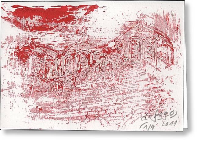 Rila Monastery Red Greeting Card by De Fago
