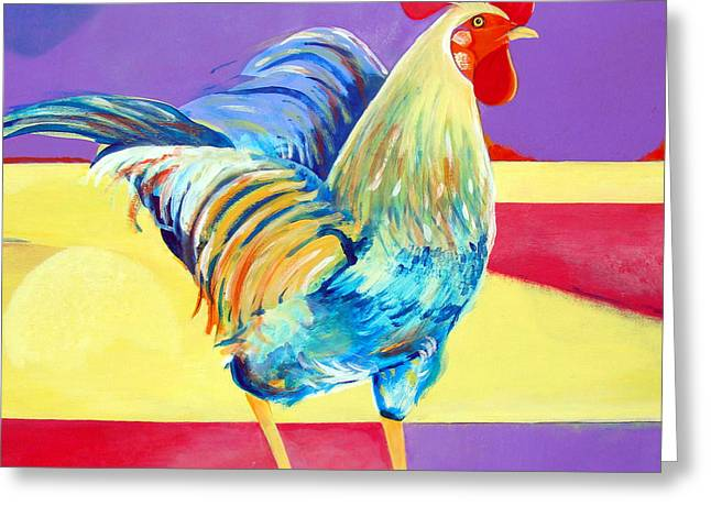 Riley The Rooster Greeting Card by Christine Belt