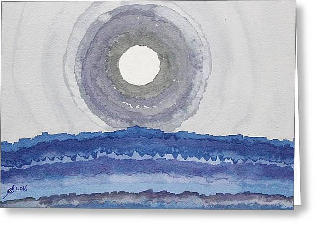 Rim Of The Moon Original Painting Greeting Card