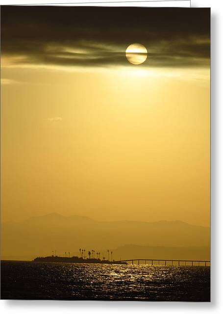 Rincon Island Sunset Greeting Card by Ross Kestin