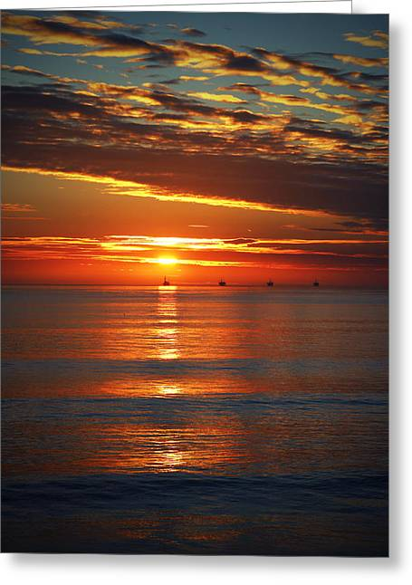Rincon Sunset Greeting Card by John A Royston